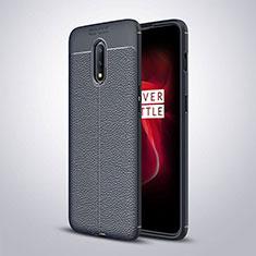 Custodia Silicone Morbida In Pelle Cover per OnePlus 7 Blu