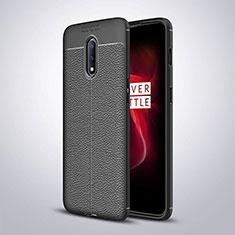 Custodia Silicone Morbida In Pelle Cover per OnePlus 7 Nero