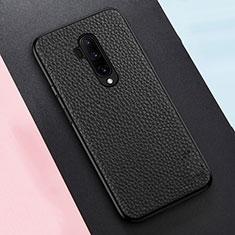 Custodia Silicone Morbida In Pelle Cover per OnePlus 7T Pro Nero