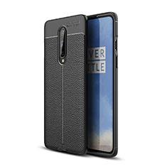 Custodia Silicone Morbida In Pelle Cover per OnePlus 8 Nero