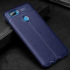 Custodia Silicone Morbida In Pelle Cover per Oppo A12 Blu