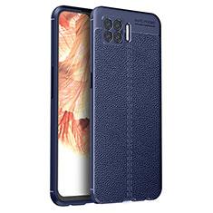 Custodia Silicone Morbida In Pelle Cover per Oppo F17 Blu