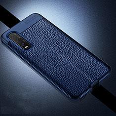 Custodia Silicone Morbida In Pelle Cover per Oppo Find X2 Blu