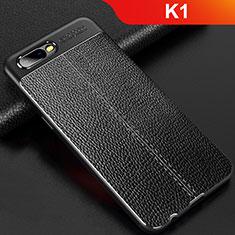 Custodia Silicone Morbida In Pelle Cover per Oppo K1 Nero
