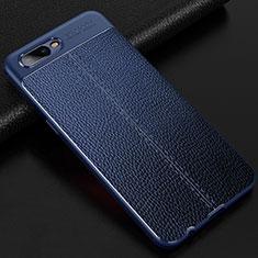 Custodia Silicone Morbida In Pelle Cover per Oppo R15X Blu