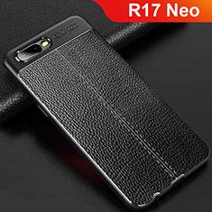 Custodia Silicone Morbida In Pelle Cover per Oppo R17 Neo Nero