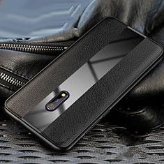Custodia Silicone Morbida In Pelle Cover per Oppo Realme X Nero