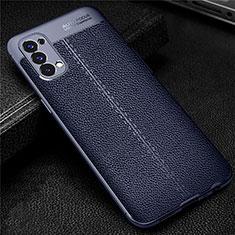 Custodia Silicone Morbida In Pelle Cover per Oppo Reno4 4G Blu
