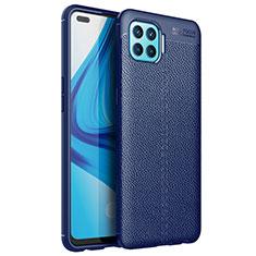 Custodia Silicone Morbida In Pelle Cover per Oppo Reno4 Lite Blu