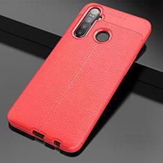 Custodia Silicone Morbida In Pelle Cover per Realme 5i Rosso