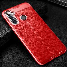 Custodia Silicone Morbida In Pelle Cover per Realme 6i Rosso