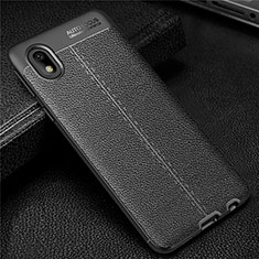 Custodia Silicone Morbida In Pelle Cover per Samsung Galaxy A01 Core Nero
