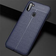 Custodia Silicone Morbida In Pelle Cover per Samsung Galaxy A11 Blu