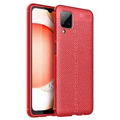 Custodia Silicone Morbida In Pelle Cover per Samsung Galaxy A12 Rosso