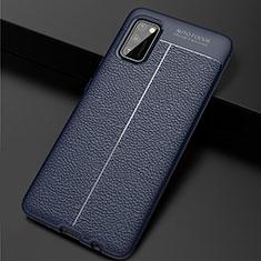 Custodia Silicone Morbida In Pelle Cover per Samsung Galaxy A41 Blu