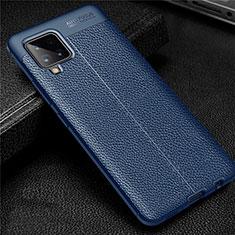 Custodia Silicone Morbida In Pelle Cover per Samsung Galaxy A42 5G Blu