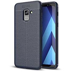 Custodia Silicone Morbida In Pelle Cover per Samsung Galaxy A5 (2018) A530F Blu