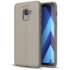 Custodia Silicone Morbida In Pelle Cover per Samsung Galaxy A5 (2018) A530F Grigio