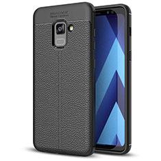 Custodia Silicone Morbida In Pelle Cover per Samsung Galaxy A5 (2018) A530F Nero