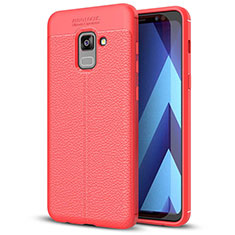Custodia Silicone Morbida In Pelle Cover per Samsung Galaxy A5 (2018) A530F Rosso
