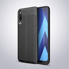 Custodia Silicone Morbida In Pelle Cover per Samsung Galaxy A50 Nero