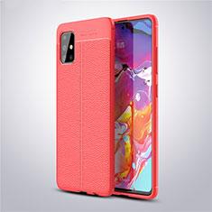 Custodia Silicone Morbida In Pelle Cover per Samsung Galaxy A51 5G Rosso