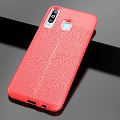 Custodia Silicone Morbida In Pelle Cover per Samsung Galaxy A60 Rosso