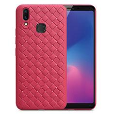 Custodia Silicone Morbida In Pelle Cover per Samsung Galaxy A6s Rosso