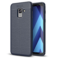 Custodia Silicone Morbida In Pelle Cover per Samsung Galaxy A8+ A8 Plus (2018) Duos A730F Blu