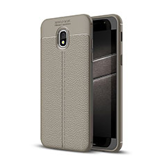 Custodia Silicone Morbida In Pelle Cover per Samsung Galaxy J3 Star Grigio