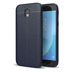 Custodia Silicone Morbida In Pelle Cover per Samsung Galaxy J5 (2017) SM-J750F Blu