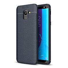 Custodia Silicone Morbida In Pelle Cover per Samsung Galaxy J6 (2018) J600F Blu