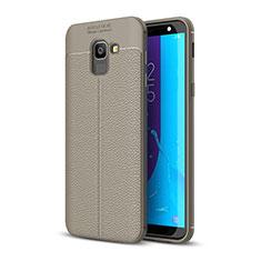 Custodia Silicone Morbida In Pelle Cover per Samsung Galaxy J6 (2018) J600F Grigio