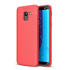 Custodia Silicone Morbida In Pelle Cover per Samsung Galaxy J6 (2018) J600F Rosso