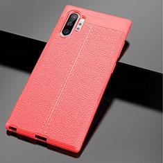 Custodia Silicone Morbida In Pelle Cover per Samsung Galaxy Note 10 Plus 5G Rosso