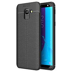 Custodia Silicone Morbida In Pelle Cover per Samsung Galaxy On6 (2018) J600F J600G Nero
