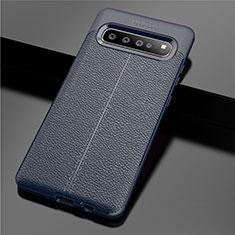 Custodia Silicone Morbida In Pelle Cover per Samsung Galaxy S10 5G SM-G977B Blu