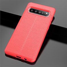 Custodia Silicone Morbida In Pelle Cover per Samsung Galaxy S10 5G SM-G977B Rosso