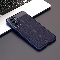 Custodia Silicone Morbida In Pelle Cover per Samsung Galaxy S21 5G Blu Notte