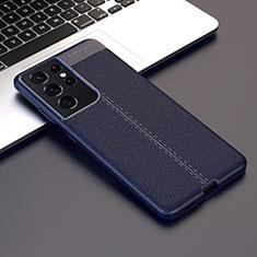 Custodia Silicone Morbida In Pelle Cover per Samsung Galaxy S21 Ultra 5G Blu