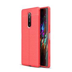 Custodia Silicone Morbida In Pelle Cover per Sony Xperia 1 Rosso