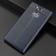 Custodia Silicone Morbida In Pelle Cover per Sony Xperia XA2 Blu