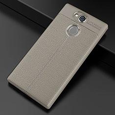 Custodia Silicone Morbida In Pelle Cover per Sony Xperia XA2 Grigio