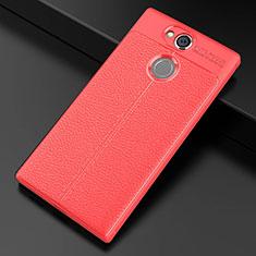 Custodia Silicone Morbida In Pelle Cover per Sony Xperia XA2 Plus Rosso