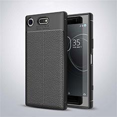 Custodia Silicone Morbida In Pelle Cover per Sony Xperia XZ1 Compact Nero