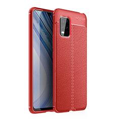 Custodia Silicone Morbida In Pelle Cover per Xiaomi Mi 10 Lite Rosso
