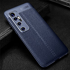 Custodia Silicone Morbida In Pelle Cover per Xiaomi Mi 10 Ultra Blu