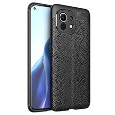 Custodia Silicone Morbida In Pelle Cover per Xiaomi Mi 11 5G Nero
