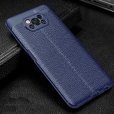 Custodia Silicone Morbida In Pelle Cover per Xiaomi Poco X3 NFC Blu