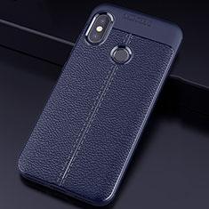 Custodia Silicone Morbida In Pelle Cover per Xiaomi Redmi 6 Pro Blu